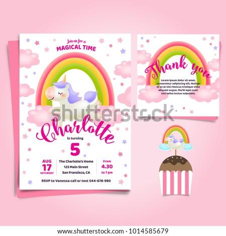 Unicorn Little Pony Theme Birthday Invitation