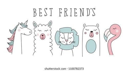 unicorn, llama, lion, bear and flamingo, animal cartoon vector set illustration