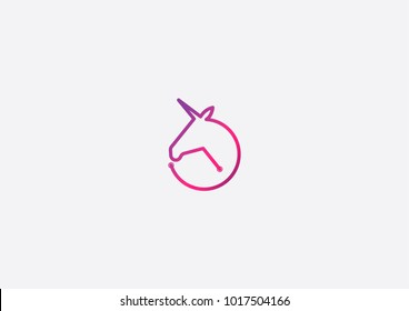 unicorn logo concept in the form of circle, suitable for company logo that require simple logo