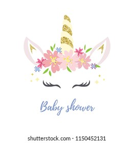 Unicorn logo with horn, ears and flowers. Great for badge, card, greeting, baby birthday party, t-shirt, banner, invitation template. Isolated on white background. Vector. Baby shower text.