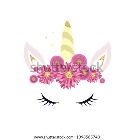 unicorn logo horn ears flowers great stock vector royalty free