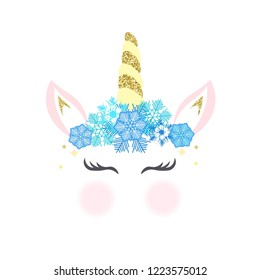 Unicorn logo with horn, ears and snowflakes. Great for badge, card, greeting, baby birthday party, t-shirt, banner, invitation template. Isolated on white background. Vector.