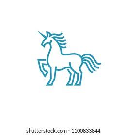 Unicorn logo in simple line style