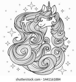 Unicorn with a long mane, hand drawn vector line illustration for tattoo, coloring book, postcard, print.