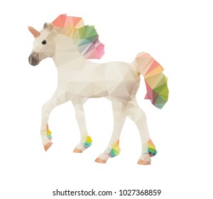 Unicorn low poly polygonal vector illustration with multicolor rainbow mane and tail isolated on a white background.