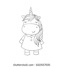 Unicorn and magic. Coloring page