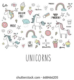Unicorn and magic. Cute print