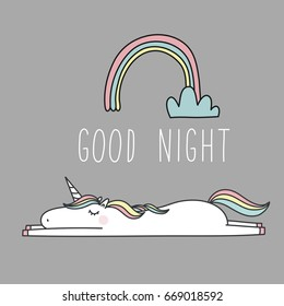 Unicorn and magic. Cute print with lettering. Good Night