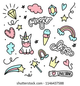 Unicorn and Magic Doodles. Cute unicorn and pony collection with magic items. Hand drawn line style. Vector doodles illustrations.