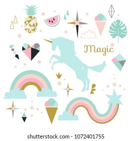 Unicorn magic element set. Isolated vector objects, flat design