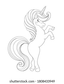 Unicorn, magic horse, Linear hand drawing. Children s coloring book for educational activities in kindergarten, invitations, birthday, holiday. Vector illustration isolated on white background