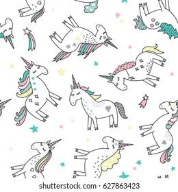 Unicorn magic seamless pattern