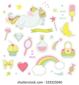 Unicorn magic set for kids. Cute stickers collection for birthday or scrapbook design. Isolated on white.