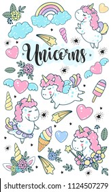 Unicorn magic vector set colorful illustration. Mythic horse unicorn with horn, heart, wings, stars, ice creams, clouds collection.