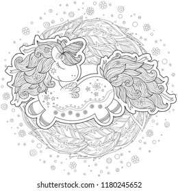 Unicorn magical animal. Black, white. Coloring book page for adult and kids. Zentangle Illustration. Fairytale, amazing wonderland