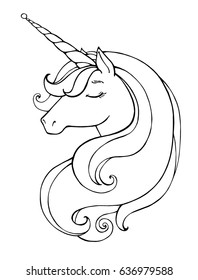 Unicorn. Magical animal. Vector artwork. Black and white. Coloring book pages for adults and kids. Love bohemia concept for wedding invitation card, ticket, branding, boutique logo, label.