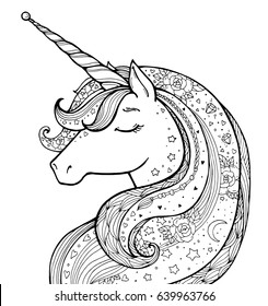 Unicorn. Magical animal. Vector artwork. Black and white. Coloring book pages for adults and kids. Funny character. Zentangle Illustration. Boho, bohemian. Fairytale concept, amazing wonderland