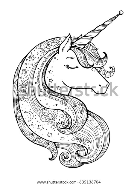 - Unicorn Magical Animal Vector Artwork Black Stock Vector (Royalty Free)  635136704