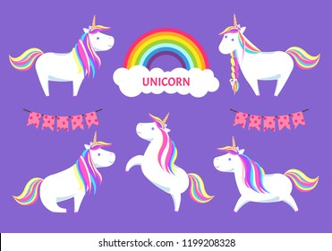 Unicorn and magical creature decorative clouds with rainbow and text vector. Decor of colorful flags, animal running sitting and standing jumping