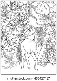 unicorn in magical garden vintage decorative floral pattern background colored vector illustration coloring