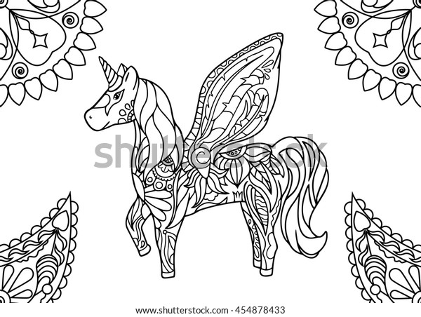 Unicorn Mandalas Coloring Page Hornicorn Outlined Stock Vector