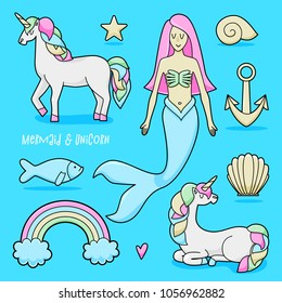 Unicorn and mermaid set, colorful vector illustration