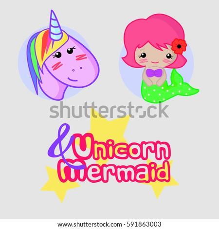 unicorn mermaid template inscriptions on gray stock vector royalty