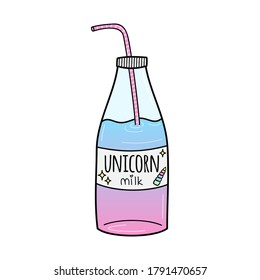 Unicorn milk drink vector illustration icon. Doodle hand drawn cartoon outlined unicorn glass bottle in pink, yellow, violet and blue colors. Isolated.
