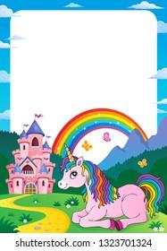 Unicorn near castle theme frame 5 - eps10 vector illustration.