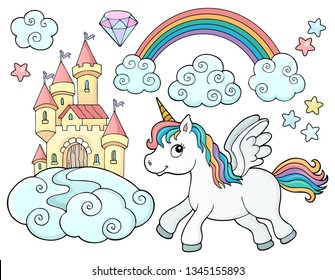 Unicorn and objects theme image 2 - eps10 vector illustration.