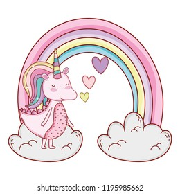 Unicorn on clouds cartoons