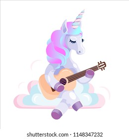 The Unicorn on the clouds, plays on the ukulele or guitar.