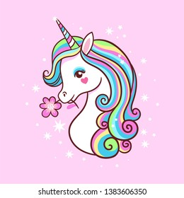 Unicorn on a pink background with stars. Postcard with milvm mythical animals.