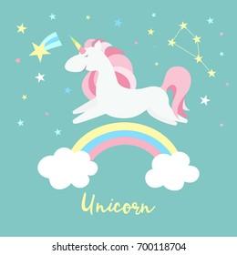 Unicorn on rainbow. Cute magic background with unicorn, rainbow and stars. Cartoon flat style vector illustration