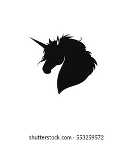 The unicorn on white background. Silhouette of head unicorn. Beautiful magical animal. It can be used for printing on t-shirts or ideas for tattoos.
