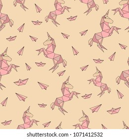 Unicorn in origami low-polygonal style seamless pattern for textile