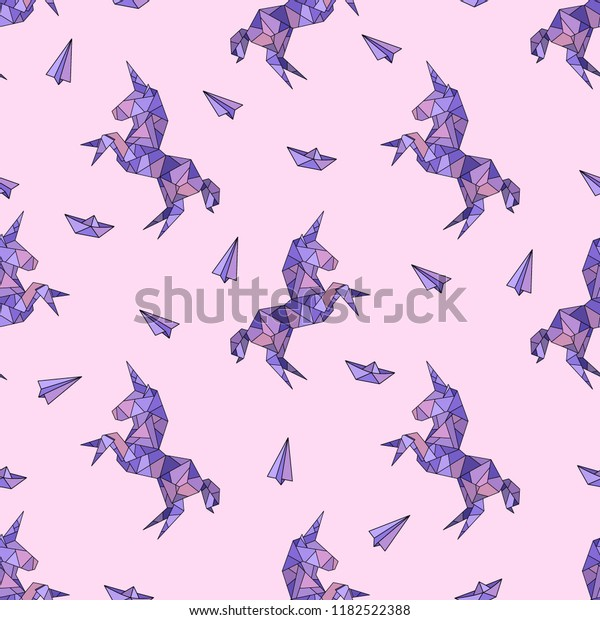 Unicorn in origami low-polygonal style. Seamless pattern