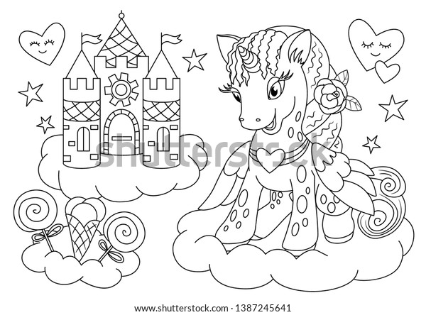 Unicorn Outline Coloring Book Page Unicorn Stock Vector Royalty Free 1387245641