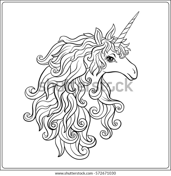 Unicorn Outline Drawing Coloring Page Stock Stock Vector Royalty Free 572671030
