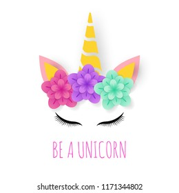 unicorn paper art logo, cute vector design