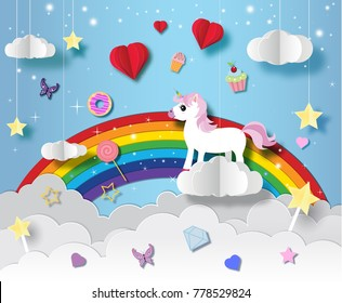 Unicorn in paper art style with various cute icons vector illustration set   a lovely greeting card with a hand drawn unicorn among stars and fluffy clouds.