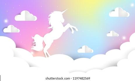 Unicorn Paper cut on pastel sky, Unicorn Gradient background colorful. Sky unicorn, Galaxy Cute Color star. Vector gradient Illustrator EPS10.