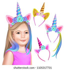 Unicorn party. Face girl and headband hoops. Isolated realistic vector illustration.