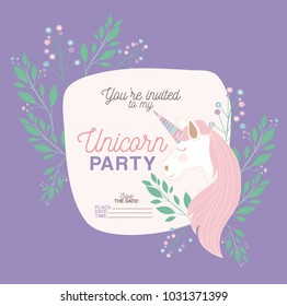 unicorn party invitation card with floral decoration