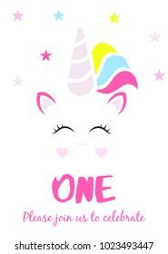 Unicorn Party Invitation, First Birthday
