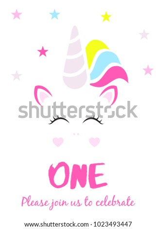Unicorn Party Invitation First Birthday Stock Vector Royalty Free