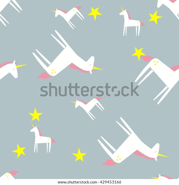 Unicorn Pattern Cartoon Doodle Pony Horn Stock Image Download Now