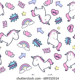 unicorn pattern illustration vector.