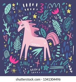 Unicorn pattern vector, cute nursery wall art, animal prints, pastel baby room decor pictures, clip art, Illustrator EPS and JPG