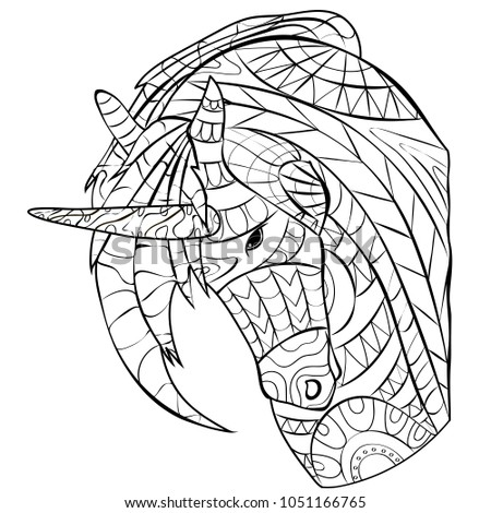 unicorn picture coloring page relaxation children stock vector